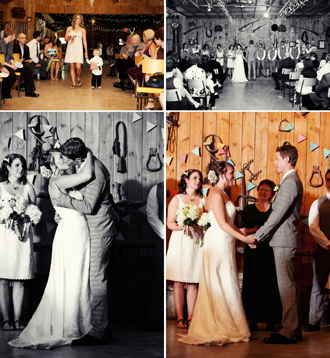 indoor wedding ceremony rustic
