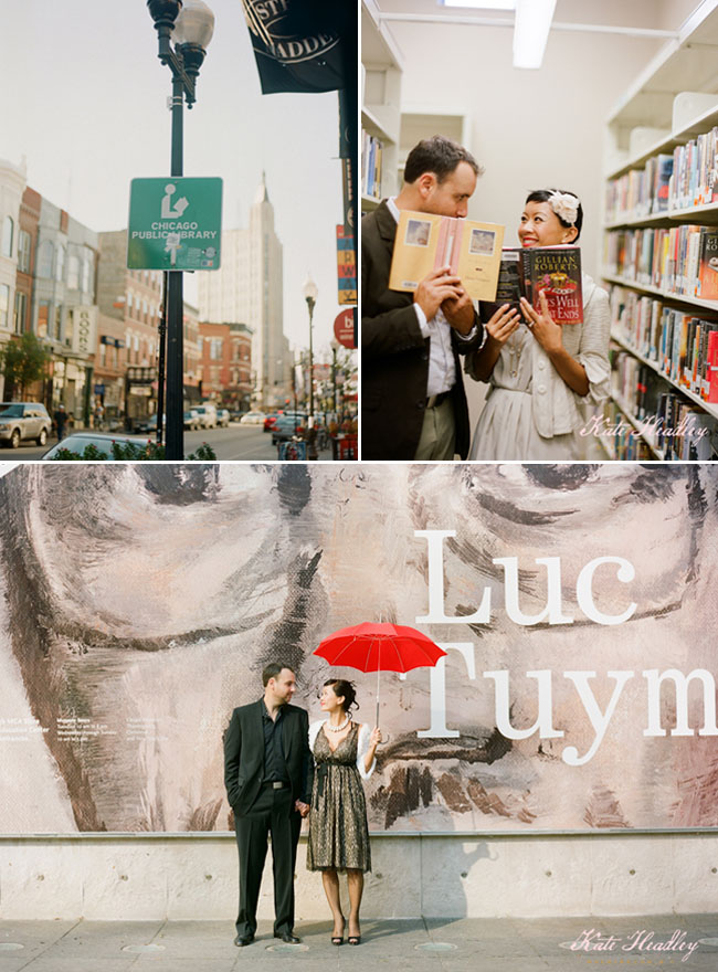 red umbrella engagement photos