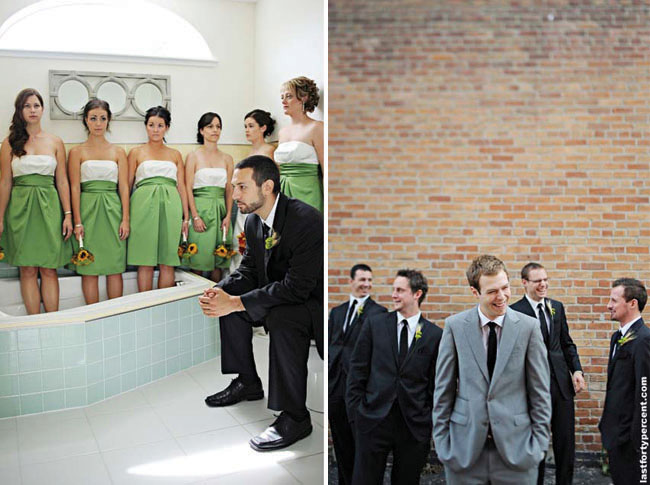 bridesmaids in green dresses in bathtub