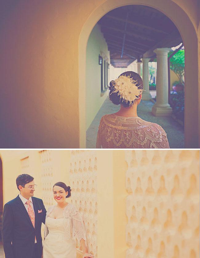 bride with vintage lace shawl