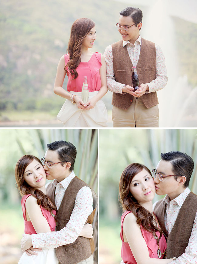 engagement photos with vintage soda bottles