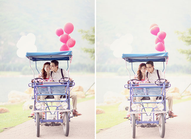 engagement photos with red balloons