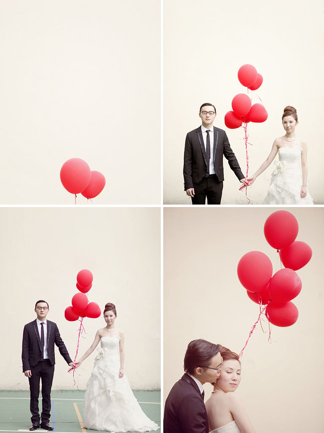 red balloon engagement photos