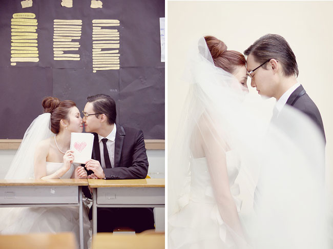 engagement photos in schoolroom