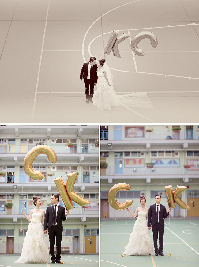 engagement photos with gold letter balloons