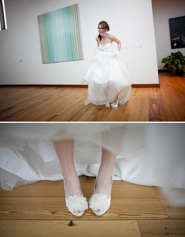 bride with pretty white shoes