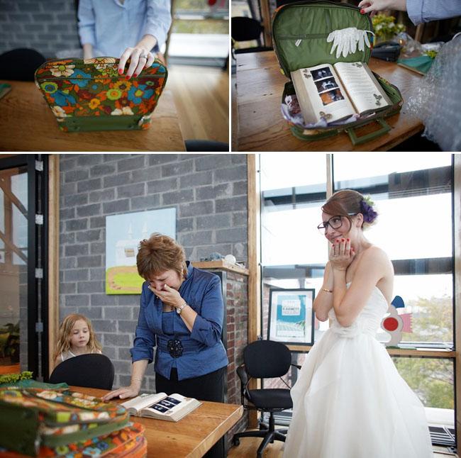bride with scrapbook