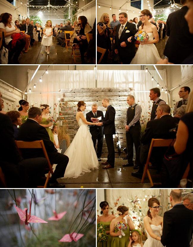 wedding ceremony with paper cranes