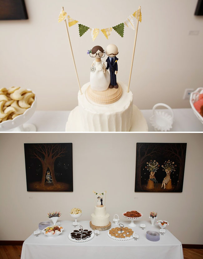 wedding cake with bunting