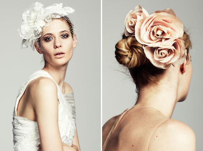 pink rose bridal hair piece