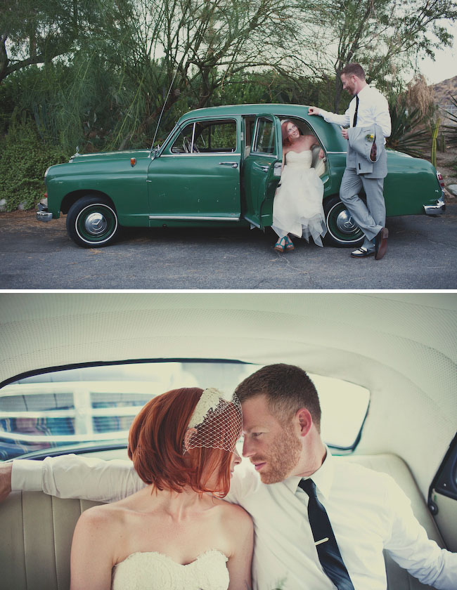 green car wedding