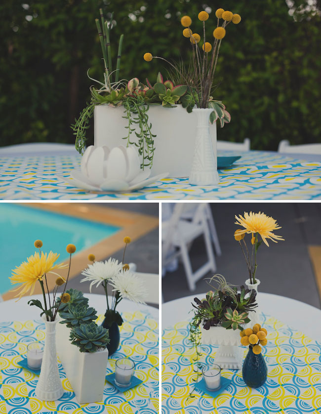 succulents and billy balls centerpieces