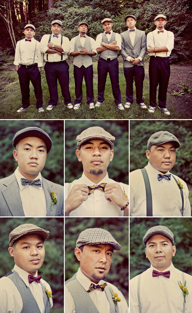 groomsmen in vintage hats and bowties
