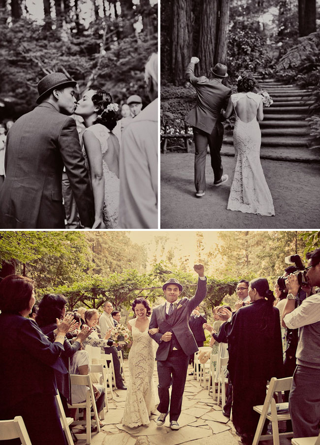 couple walking down the aisle cheering