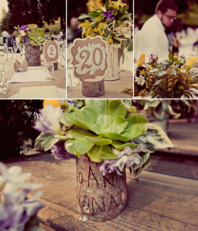 wooden bark centerpieces