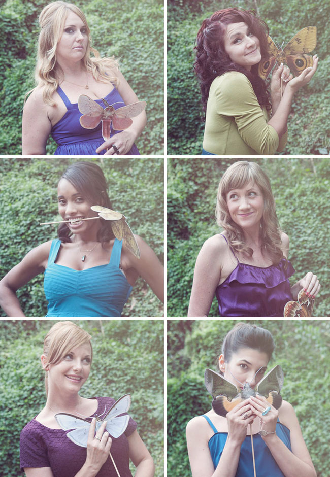 bridesmaids with butterflies