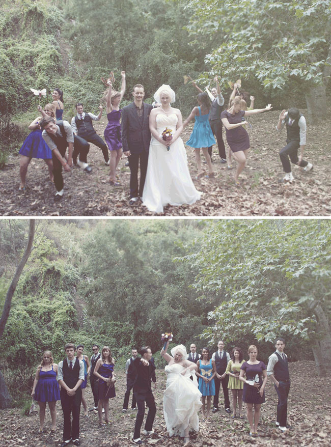bridal party photos in the woods