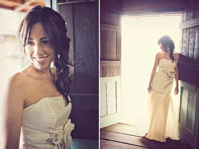 bride with flower belt