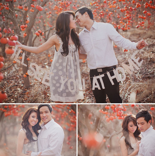 pomegranate orchard engagement session