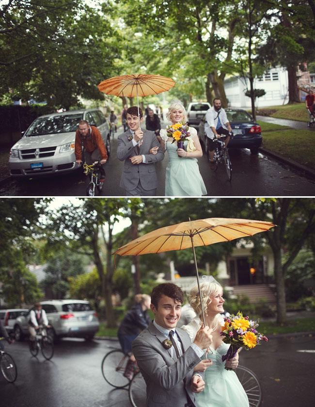 walking to the wedding in rain