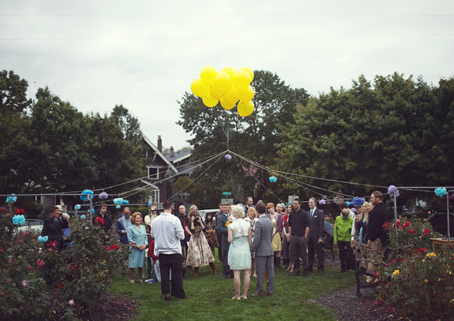 outdoor wedding with balloons