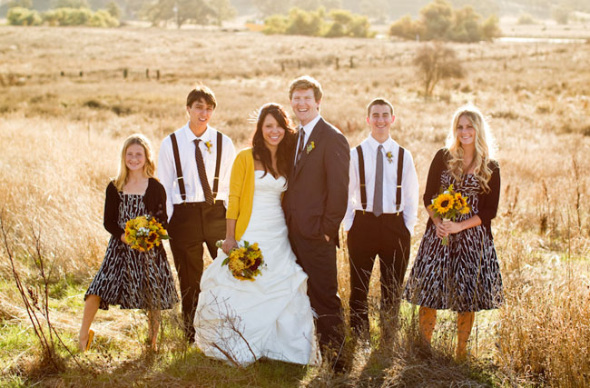 bride in yellow sweater