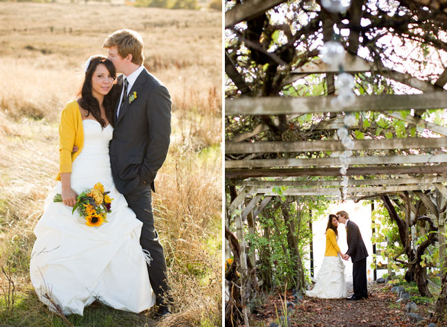 bride with yellow sweater