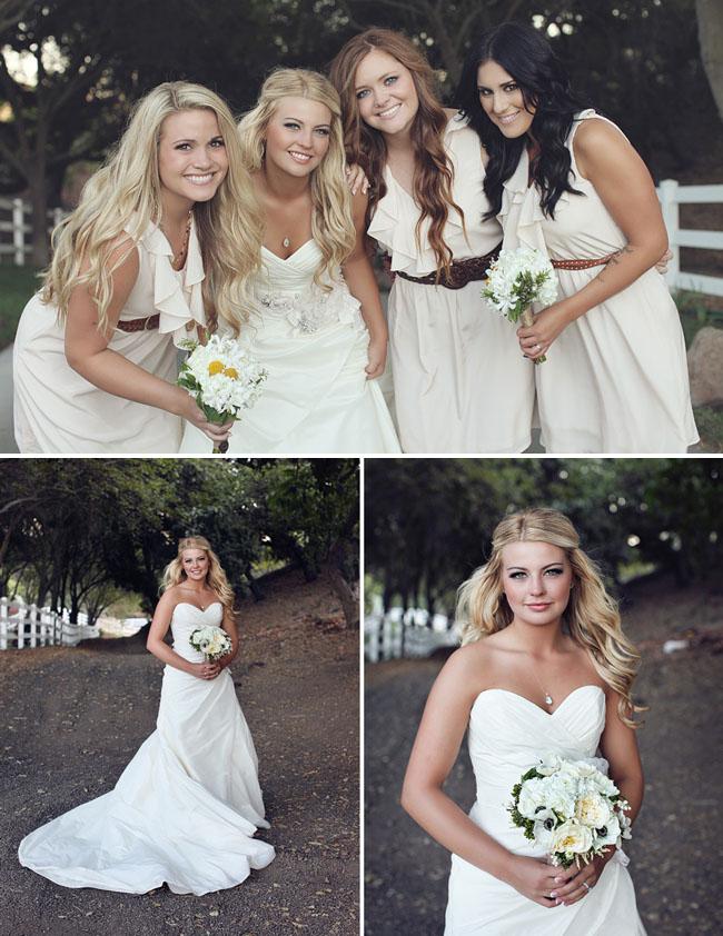 bridesmaids in vintage peach