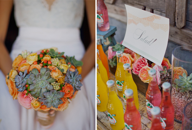 bride with succulent bouquet