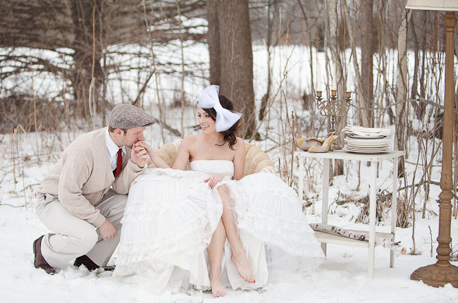 bride with big white bow in hair