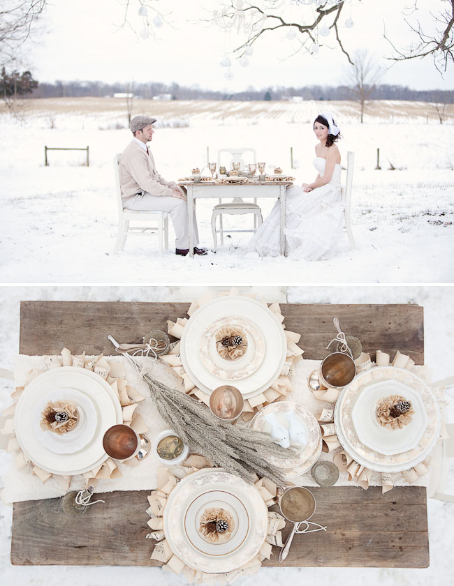 bride and groom outdoor winter reception