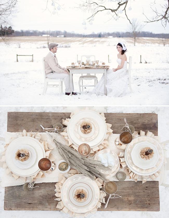 bride and groom outdoor winter reception