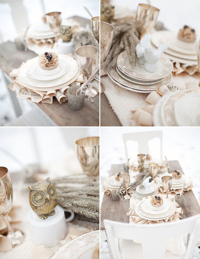 winter rustic reception table