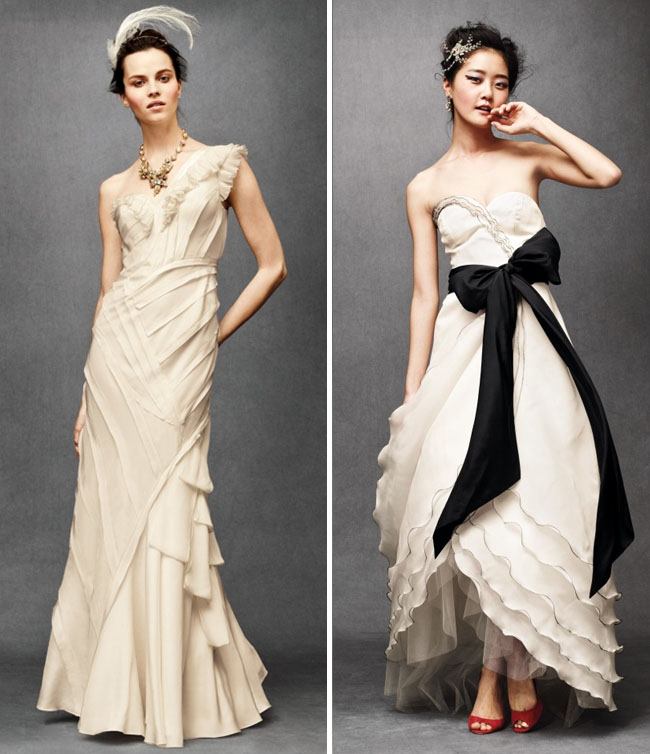 wedding dress with black bow