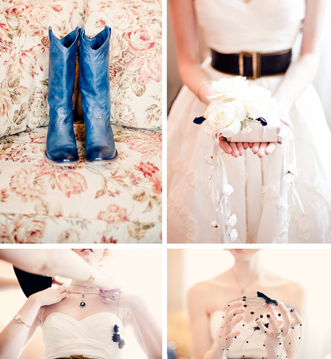bride with blue cowboy boots