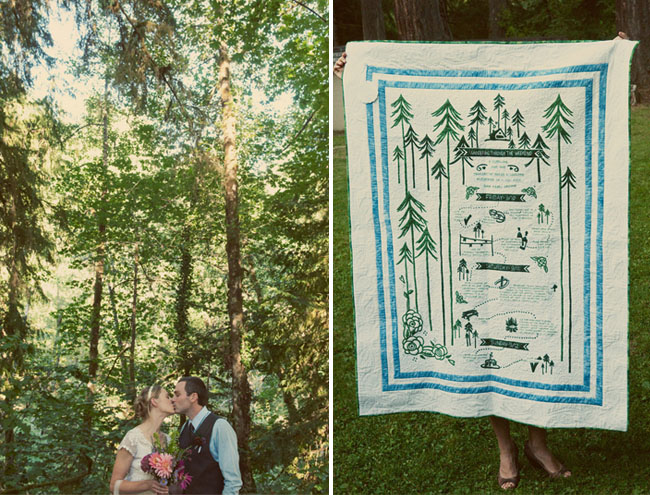 wedding quilt made from invite design
