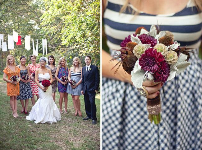 bridesmaids in different dresses