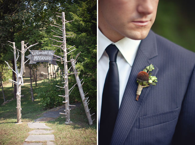 groom with unusual boutonniere