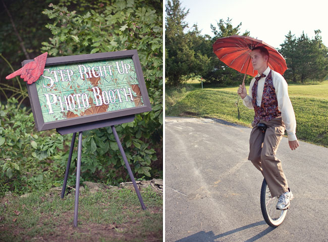unicycle rider at a wedding