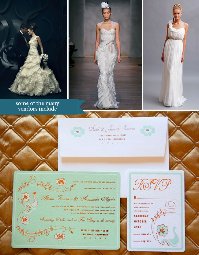 Invitations and wedding dresses