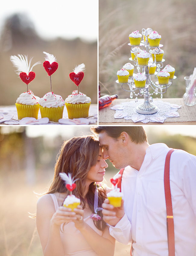 couple with heart cupcakes