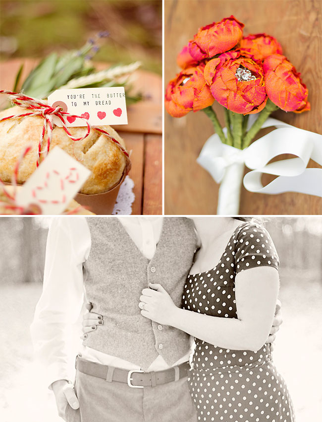 bread and ranunculus flowers