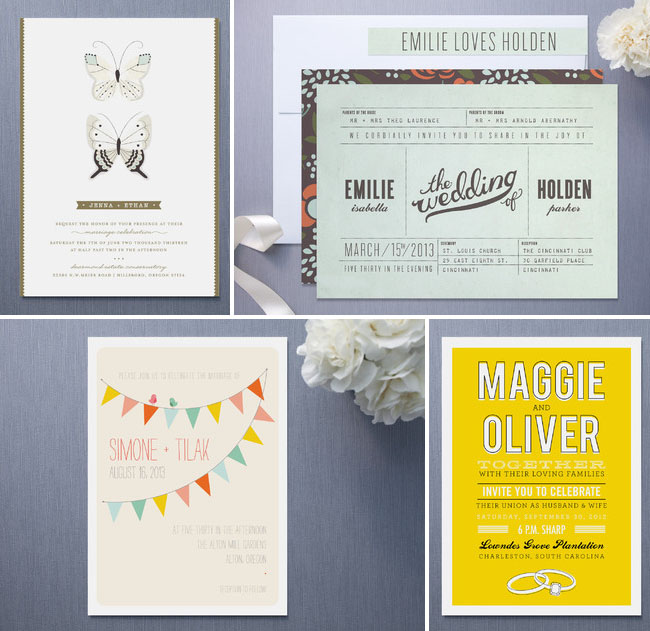 wedding invitations bunting butterflies