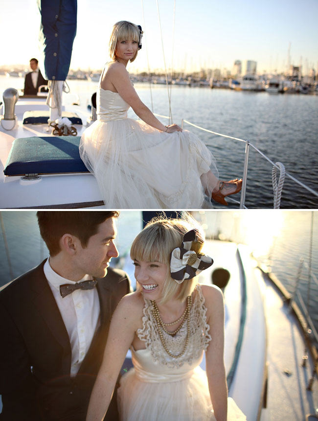 cute couple on a boat