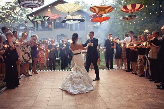 umbrellas above dancefloor