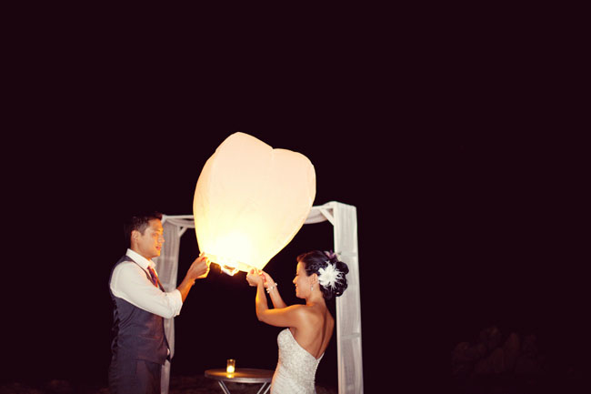 couple with wishing lantern