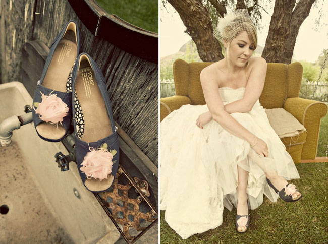 bride with toms shoes