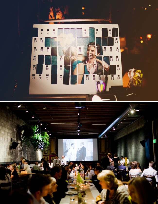 movie screen at wedding