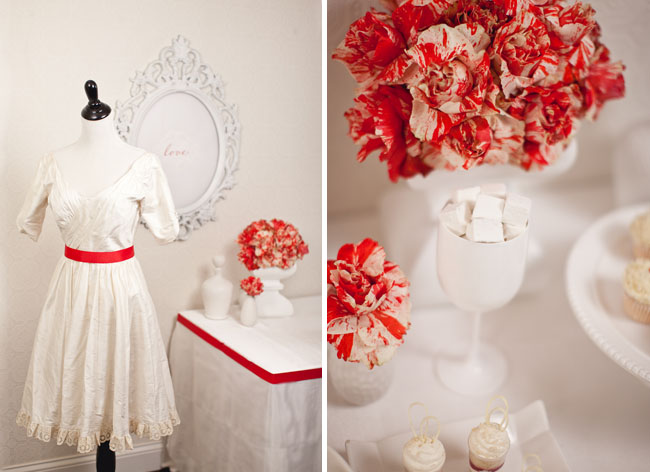 wedding dress with red belt