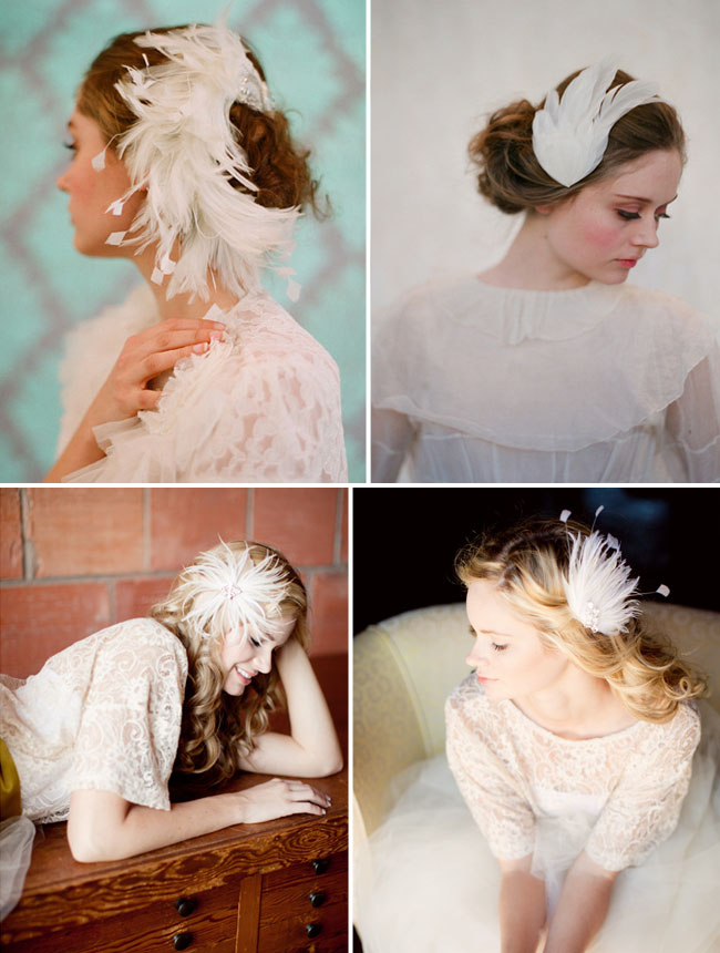 white feather hair pieces for your wedding